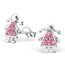 Childrens 925 Sterling Silver Girl Ear Studs with Crystals-Free Gift Box
