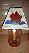 Mason Jar Electric Candle Apple Candle Lamp w/Wooden Shade
