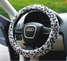 "Warm Fuzzy Auto Van Car Suv Sedan Plush Steering Wheel Cover 15"" LEOPARD Gray"