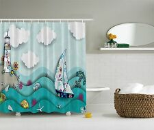 Blue Green Ocean Lighthouse Beach Fabric Shower Curtain Digital Art Bathroom