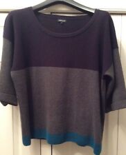 """JAEGER colour block Cotton jumper In Navy/grey/turquoise. Size Large Bust 42"""""""