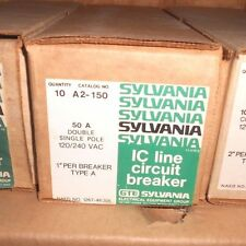 NEW LOT OF 2 50A GTE Sylvania Double Single Pole Type A Circuit Breaker A2-150