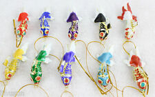 Collectibl10pcs Chinese Classic Cloisonne Enamel Fish Christmas Ornaments Charms