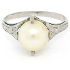 Antique Art Deco Petite Etched 14k White Gold 7.9mm Round Pearl Solitaire Ring