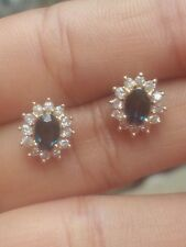SALE !!! 14k Solid Yellow Gold Sapphire Diamond Earrings...!