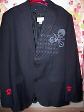 men's sz M or 42R Wilsons Leather & wool sport coat skull guitars metal Dio !!