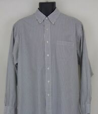 Brooks Brothers Mens 17-4 Blue White Button Down Long Sleeve Shirt