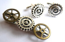LIMITED QUANTITY -  HANDMADE STEAM PUNK CUFFLINKS + TIE PIN SET + FREE GIFT BAG