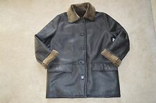 Burberry Black Leather Brown Sheepskin Shearling Jacket Trench Coat S/M 10/12