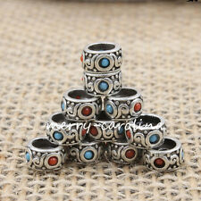 1Pc Tibet Silver Turquoise Loose Spacer Bead Pendant Bracelet Craft Findings 8mm