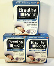 (90) BREATHE RIGHT NASAL STRIPS LARGE CLEAR (3 X 30 CT BOXES ) SHIPS WORLD WIDE