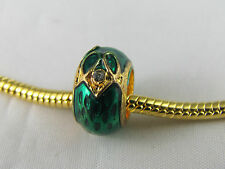 EXQUISITE GREEN FABERGE EGG BEADS FOR EUROPEAN STYLE CHARM BRACELETS  (FAB 002)