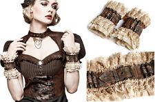 Manchette mitaine gant ceinture gothique lolita steampunk cuir broderie Punkrave