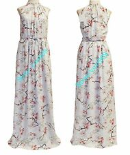 Ted Baker London Light Grey Elenor Floral Pleated Maxi Dress Size 4 (US 10) $429