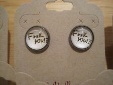Hematite Tone~F*ck You!?!~Word Funny Punk Swear~12mm Round Glass Stud Earrings