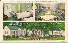 Colonial Auto Court North of Fayetteville NC Roadside Postcard