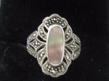 MARSALA STERLING SILVER OVAL MOP CABOCHON & MARCASITE RING - SIZE 5.75