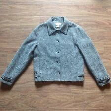 J Jill Gray Wool Blend Nubby Tweed 5 Button Front Jacket Coat Blazer Womens sz 4