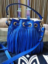 NWT MILLY ESSEX FRINGE LEATHER DRAWSTRING BUCKET BAG CROSSBODY BAG FRENCH BLUE