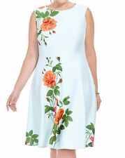 Gabby Skye Sleeveless Scuba Knit Fit And Flare Dress In Cascading Rose Size 18W