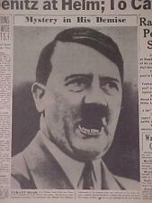 VINTAGE NEWSPAPER HEADLINE~WORLD WAR 2 GERMAN BERLIN NAZI HITLER DEAD DIES WWII~