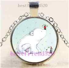 Polar Bears and Penguins Cabochon Glass Tibet Silver Chain Pendant Necklace