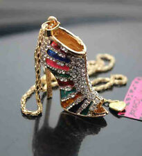 H636H   Betsey Johnson  Crystal High-heeled shoes  Pendant Sweater  Necklace