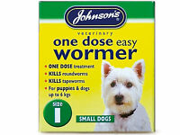 Johnsons One Dose Wormer Dog Worming Tablets Roundworm & Tapeworm SIZE 1