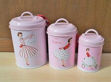 Set of 3 Canisters Mrs Smith Storage Jars Tea Coffee Sugar Tin Pots Container