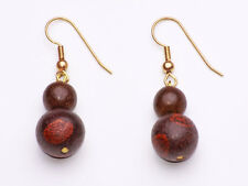 DARLING DOUBLE BUBBLE GRAINED WOOD BEAD EARRINGS WHICH ACHIEVE CUTE CHIC(ZX28)