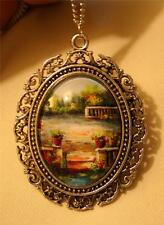 Lovely Lacy Swirled Rim Colorful Old Country Garden Silvertone Pendant Necklace