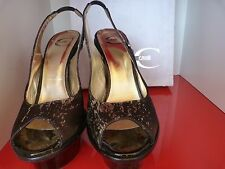 JUST CAVALLI BLACK & GOLD PEEP TOE STILETTO SHOES  .UK 4   EU 37 . MORE LISTED