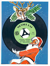 XMAS JINGLE BELLS Gramophone Greeting Card RECORD 45RPM Vtg Postcard + Cover