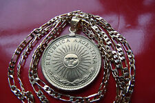 "Bronze SUN DE SOL Un Peso Coin Pendant on a 28 ""  18k Gold Filled Figaro Chain"