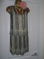 NEXT 1920s Style Gatsby Flapper Charleston Sequin Beaded Dress Size 16
