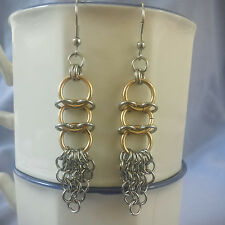 Stainless Steel and Gold Plated Europian 4 in 1 Chain Maille Earrings   USA