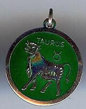 VINTAGE STERLING SILVER GREEN ENAMEL TAURUS ASTROLOGICAL SIGN CHARM