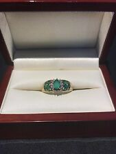 Antique Emerald & Diamond 9ct Gold Ring / Art Deco / 4.3 grams / Size T