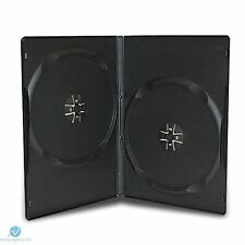 100 Double Black DVD Case Slim 9mm Spine Side by Side New Empty Regular Cover