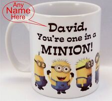 "Funny Personalised Minion Mug, coffee tea cup, Birthday gift, ""ONE IN A MINION"""