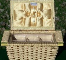 Vintage JC Penney Sewing Basket Box Woven Wicker Plastic Tray Insert Made Japan