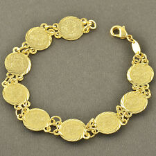 Arab Stylish 9K Yellow Gold Filled Coins Womens Charm Bracelet,Z3414