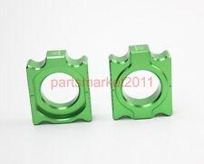 Green CNC Axle Block Chain Adjuster For Kawasaki KX125/250 KXF250 KXF450 KLX450R