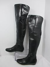 Vera Wang Lavender 'Larissa' Black Leather Thigh High Boots Size 6.5