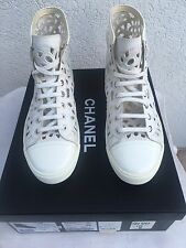 CHANEL White Leather Camellia Laser Cut High Top Lace Up Sneaker Shoes