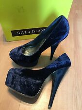 RIVER ISLAND SEXY HIGH HEEL SHOES NAVY BLUE SIZE 7 Excellent Condition With Box
