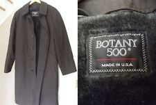Trench Coat RAINCOAT Rain Mens LARGE L BLACK BORG FUR LINER Botany USA NICE!
