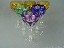 6 schöne alte Wein-Römer Kristallglas Überfang