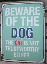 LAFINESSE VINTAGE SCHILD BEWARE DOG CAT HUND KATZE NOSTALGIE METALLSCHILD NEU