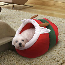 CUTE Red Christmas Pet Dog Cat House Beds Kennel Puppy Tent nest Soft Basket